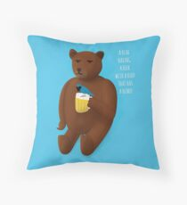 Bear, beer, bird, beard Throw Pillow