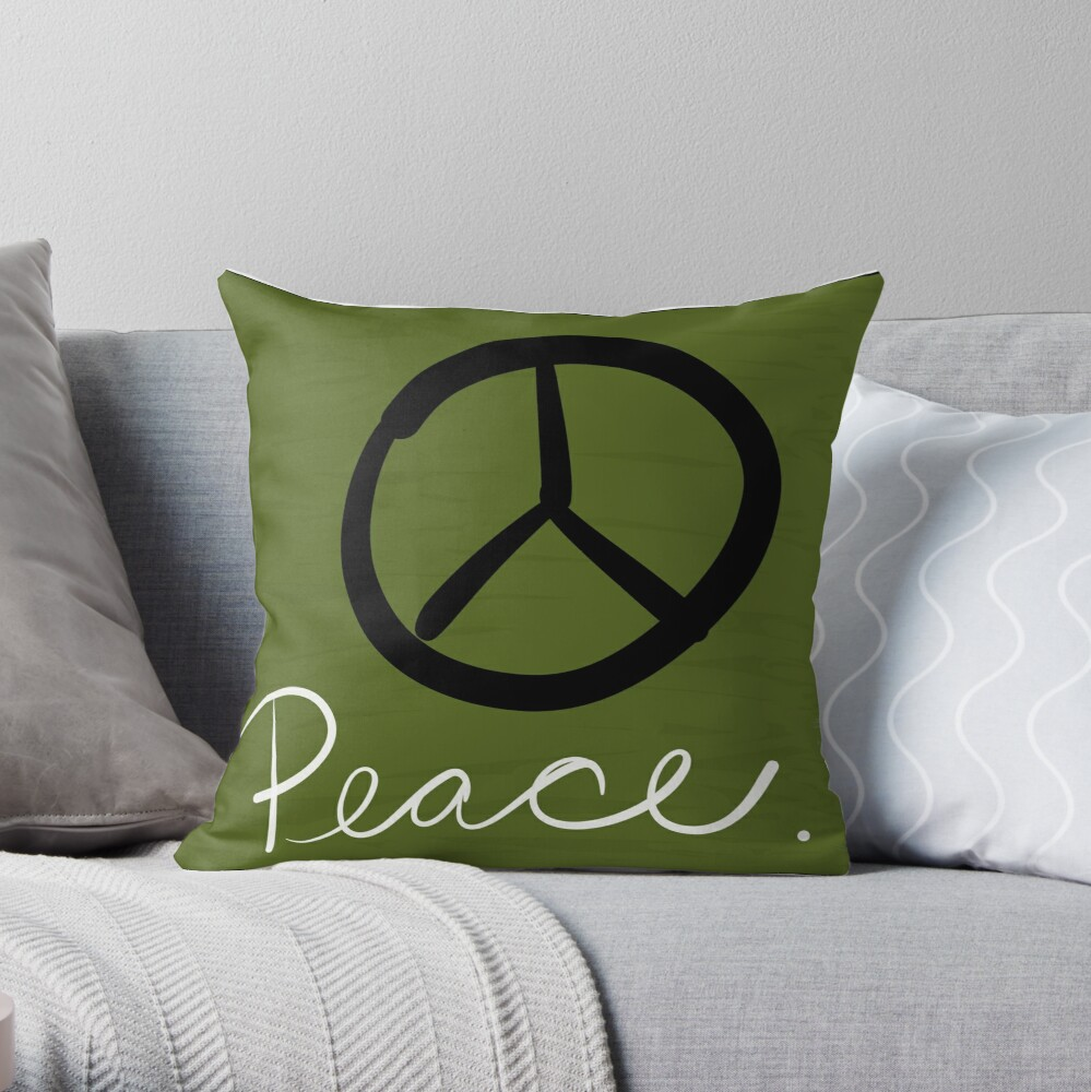 Peace - Peace Sign and Typography Art - Gift for Activist Throw Pillow