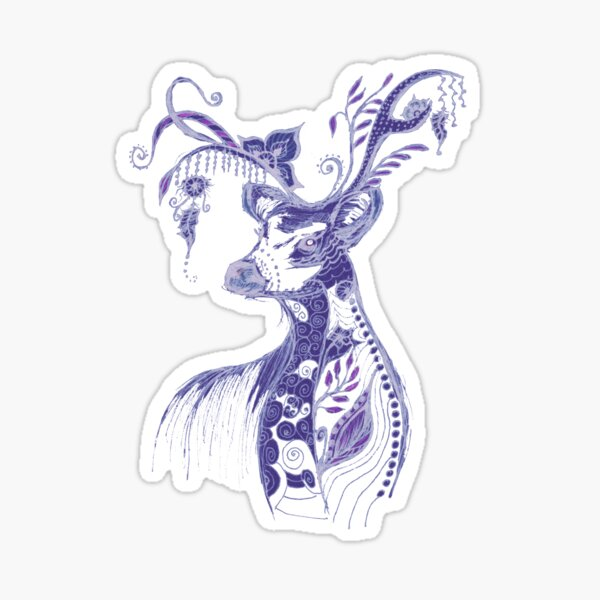 """The illustration """"Deer in the style of Boho"""" (variant 1) Sticker"""