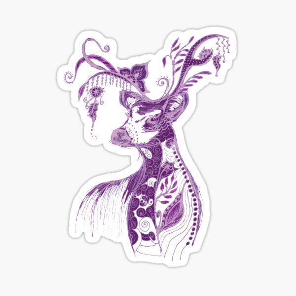 """The illustration """"Deer in the style of Boho"""" (variant 4) Sticker"""