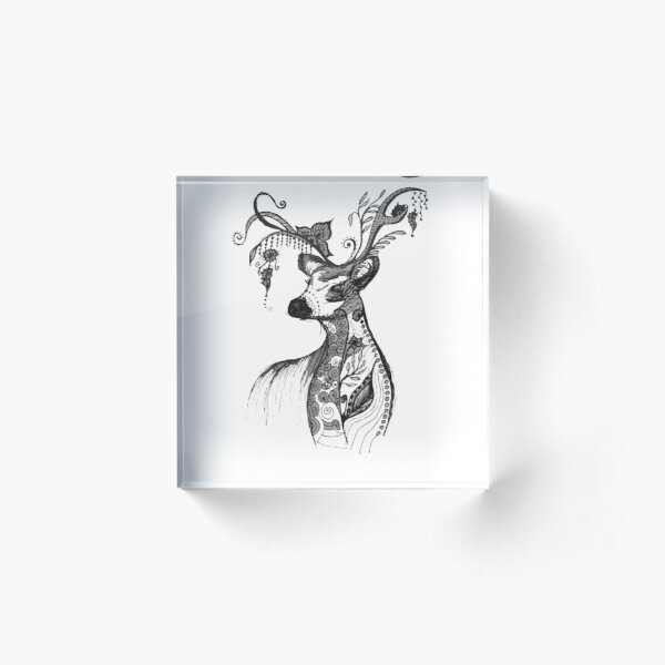 """The illustration """"Deer in the style of Boho"""" (variant 7) Acrylic Block"""