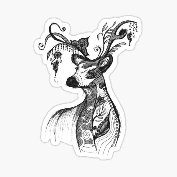 """The illustration """"Deer in the style of Boho"""" (variant 7) Sticker"""