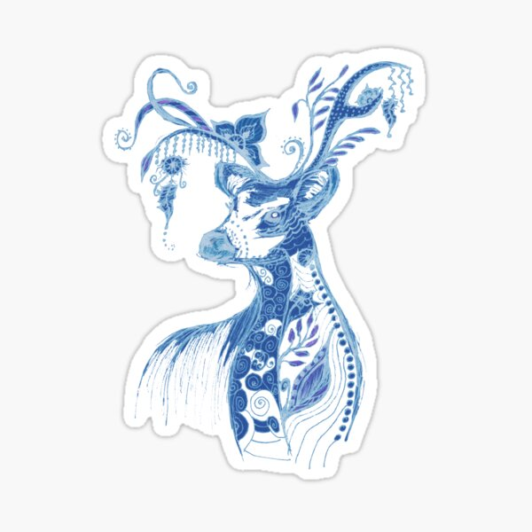 """The illustration """"Deer in the style of Boho"""" (variant 8) Sticker"""