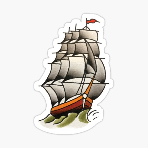 Traditional Classic Ship Tattoo Design Sticker