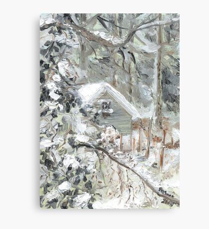 Workshed past the garden in Snow Canvas Print