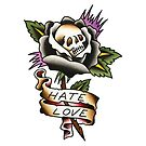 Traditional Hate Love Rose of Death Tattoo Design by FOREVER TRUE TATTOO