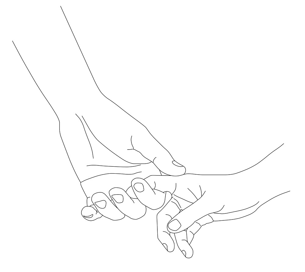 Line drawing two hands holding each other