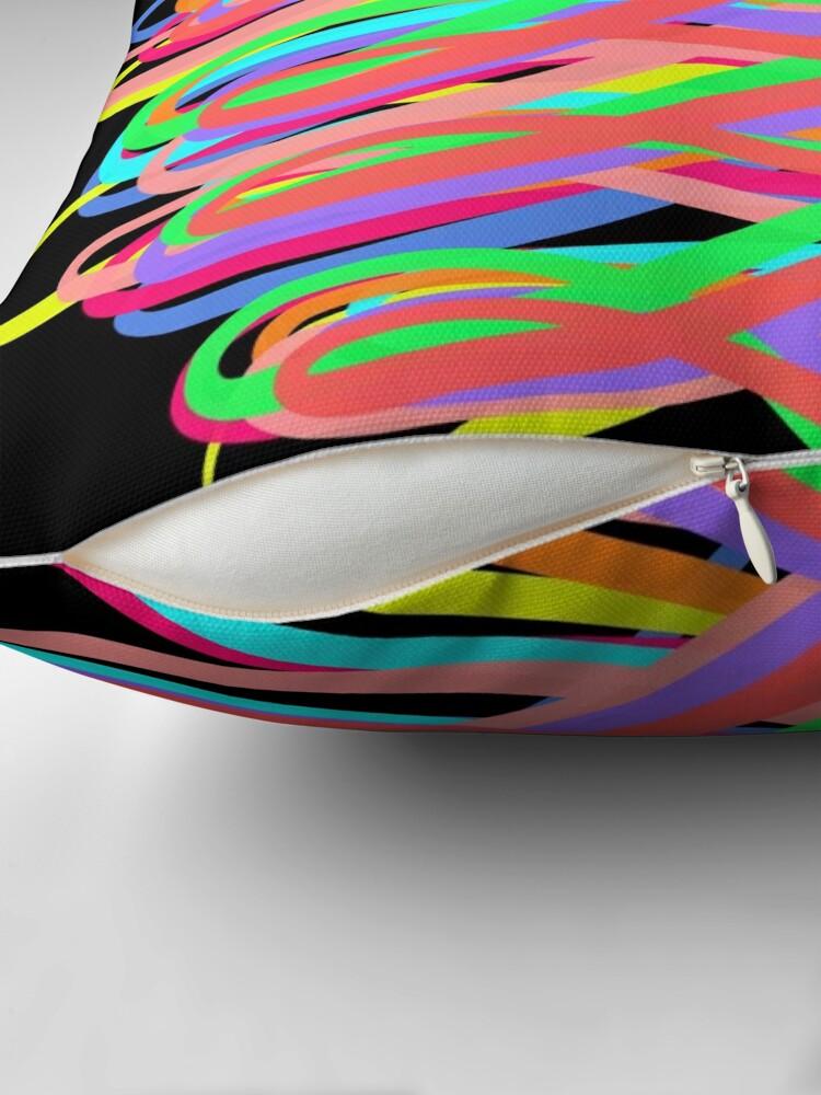Alternate view of Neon Swirls - 80s Style - Graduation Gift Idea Throw Pillow