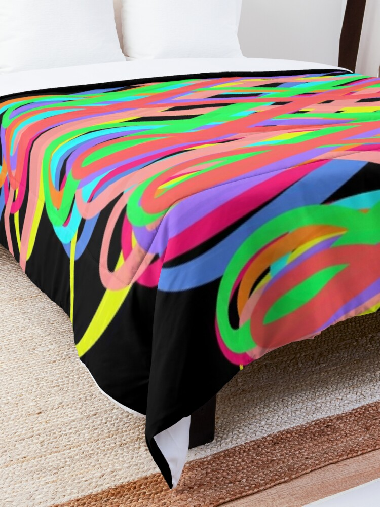 Alternate view of Neon Swirls - 80s Style - Graduation Gift Idea Comforter