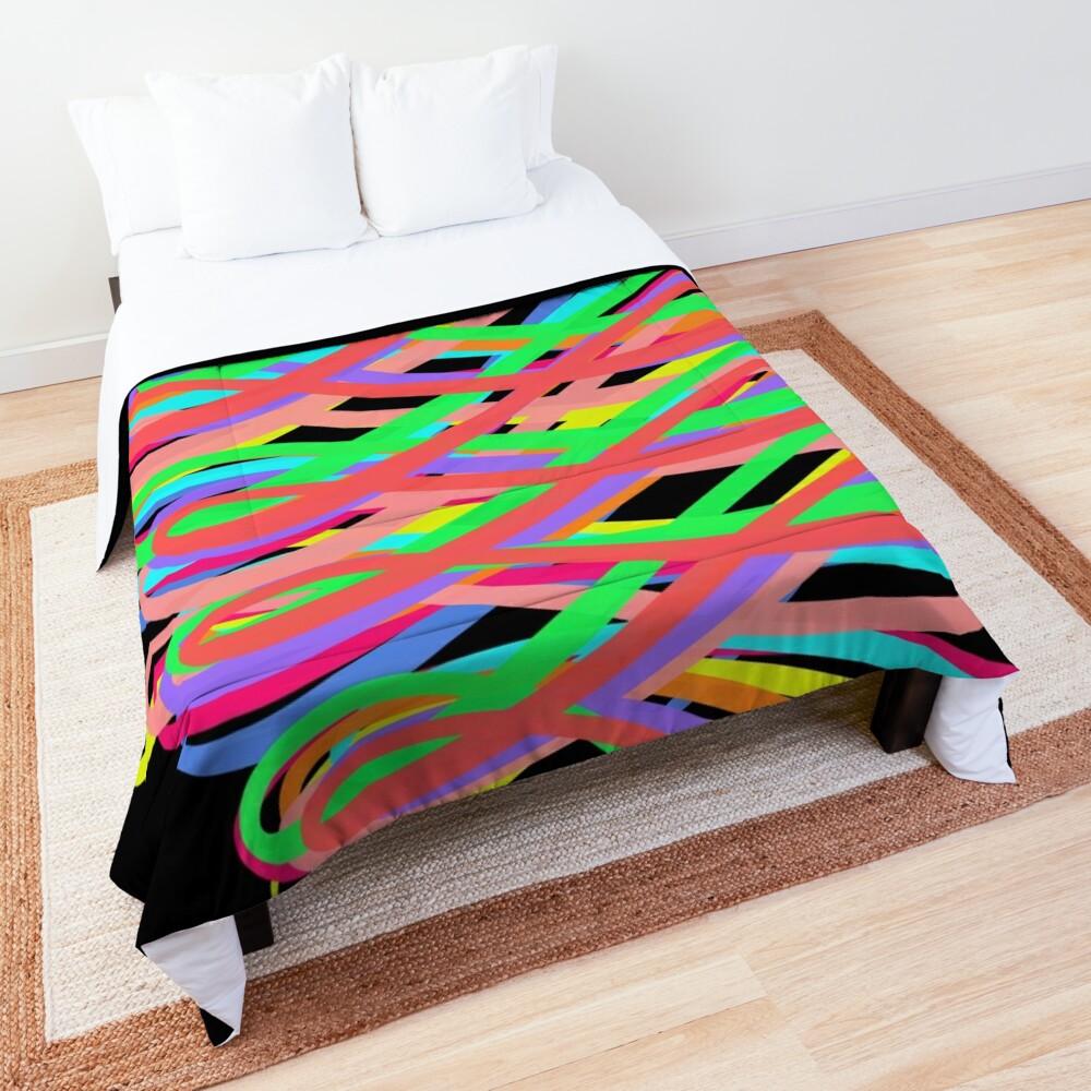 Neon Swirls - 80s Style - Graduation Gift Idea Comforter