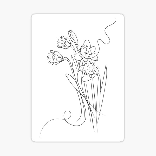 Daffodils Line Drawing Sticker