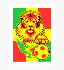 African Soccer Lion Poster Art Print