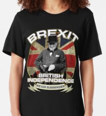 Brexit TShirt British Independence Day TShirt Winston Churchill Slim Fit T-Shirt