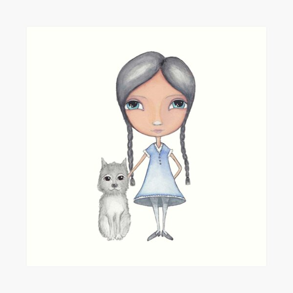 Girl and Grey Dog Watercolor Art Print