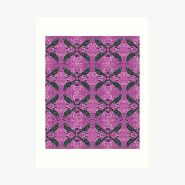 Hippie Blackbirds on Purple Art Print