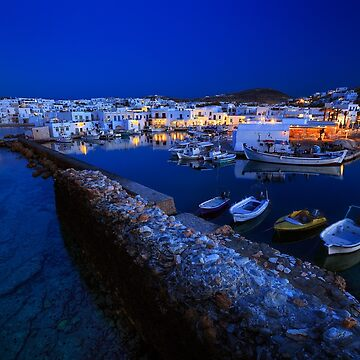 Village of Naousa in Paros island, viewed at a full moon rise by Lemonan