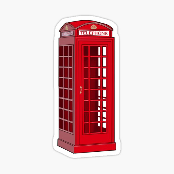 Red English Phone booth  Sticker