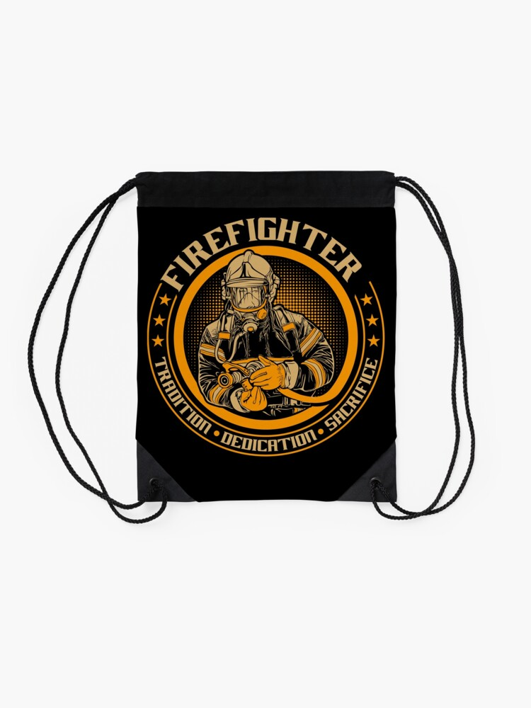 Alternate view of Firefighter by tradition Drawstring Bag