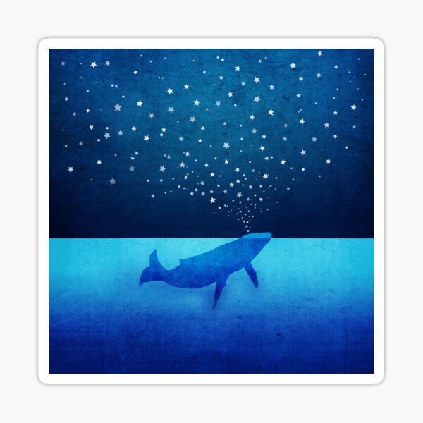 Whale Spouting Stars at Night Sticker