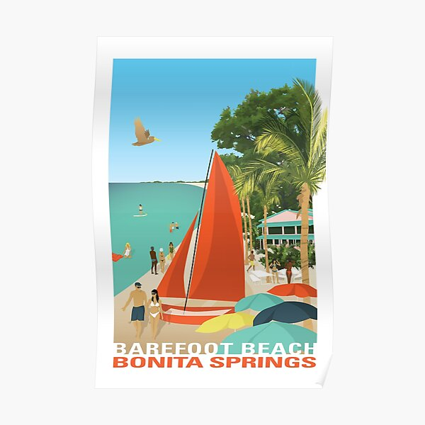 POSTER NAPLES FLORIDA LIFE IS BETTER ON THE BEACH SAILBOAT VINTAGE REPRO FREE SH