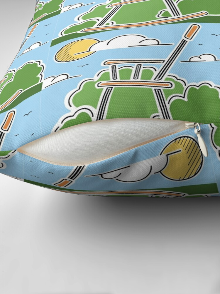 Alternate view of World's Largest Rocking Chair Illustration | Big Things Small Town | Casey Illinois Throw Pillow