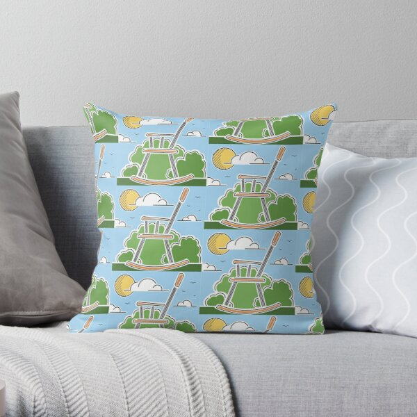 World's Largest Rocking Chair Illustration | Big Things Small Town | Casey Illinois Throw Pillow