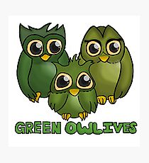 Green Owl-ives Photographic Print