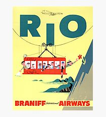 Rio Vintage Travel Poster Restored Photographic Print