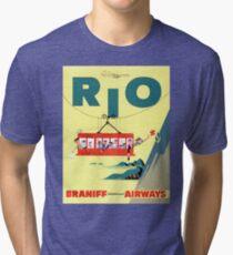 Rio Vintage Travel Poster Restored Tri-blend T-Shirt