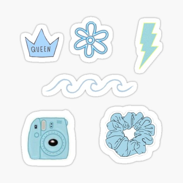 Blue aesthetic variety sticker pack Sticker