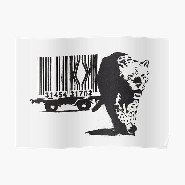 Oeuvre de Banksy pour les droits des animaux, Impressions de codes à barres Jaguar Tiger, Affiches, Sacs, T-shirts, Hommes, Femmes, Jeunes Poster