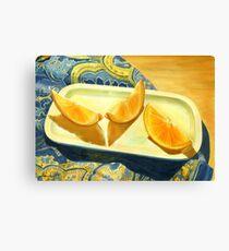 Oranges on Blue Paisley  Canvas Print
