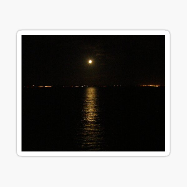 Moon over River Foyle Redcastle Donegal Ireland  Sticker