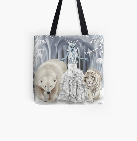 Ice Faerie with Polar Bear & White Tiger All Over Print Tote Bag