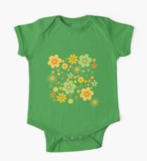 Green & Yellow flowers scattering One Piece - Short Sleeve