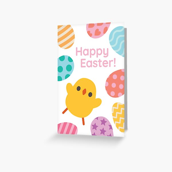 Happy Easter! Excited Yellow Baby Chick Greeting Card