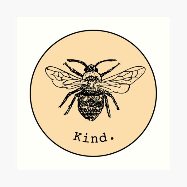 Bee kind (light yellow/orange) Art Print