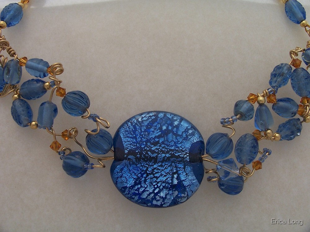 Blue Beaded Collar by Erica Long