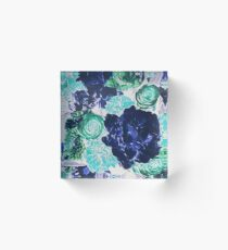 Bouquet in Blue - Floral Art - Flower Lovers Gift Acrylic Block