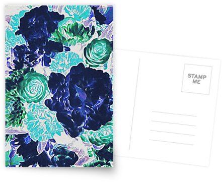 Bouquet in Blue - Floral Art - Flower Lovers Gift by OneDayArt