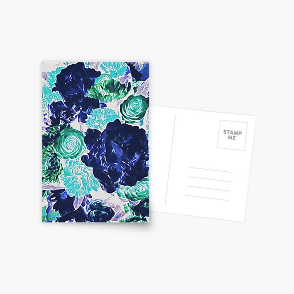 Bouquet in Blue - Floral Art - Flower Lovers Gift Postcard