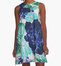 Bouquet in Blue - Floral Art - Flower Lovers Gift A-Line Dress