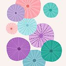 Sea Urchin Pattern in Mermaid Hues by latheandquill
