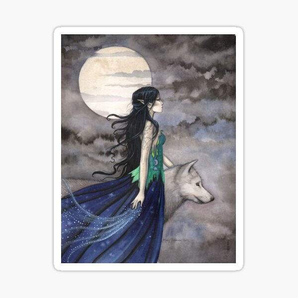 """""""Night of the Wolf"""" Gothic Fantasy Art by Molly Harrison Sticker"""
