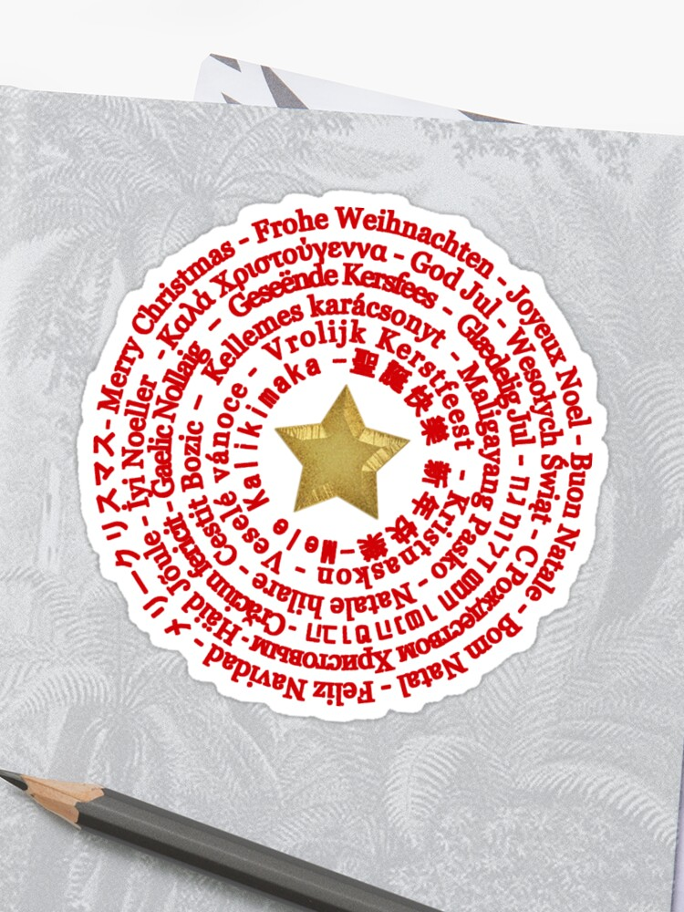 Merry Christmas Different Languages.Merry Christmas In Different Languages Sticker