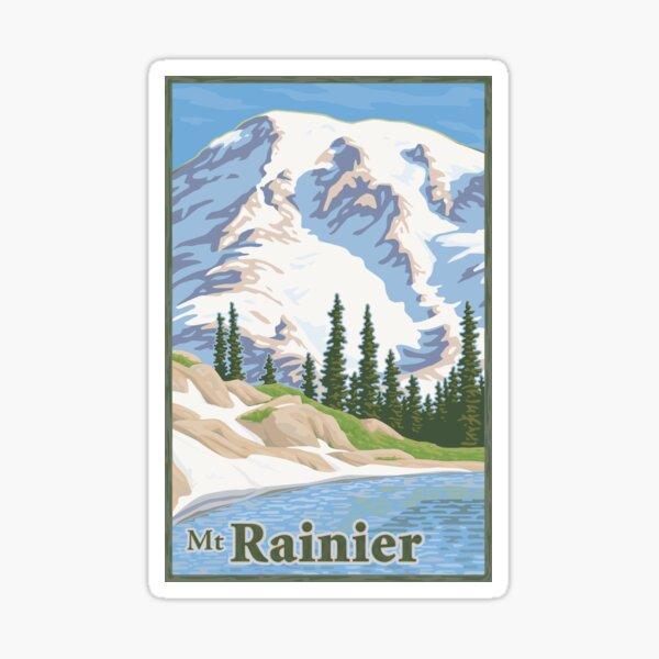 Vintage Mount Rainier Travel Poster Sticker
