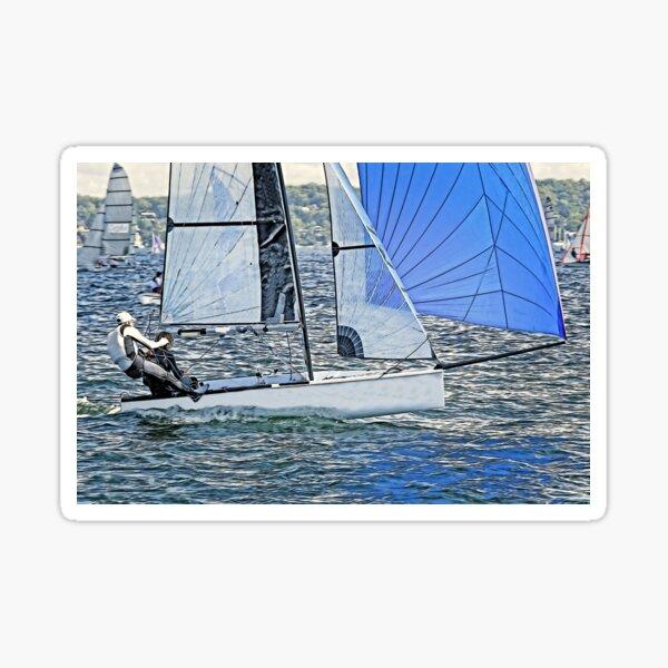 High School Children competing - Sailing Racing. Sticker