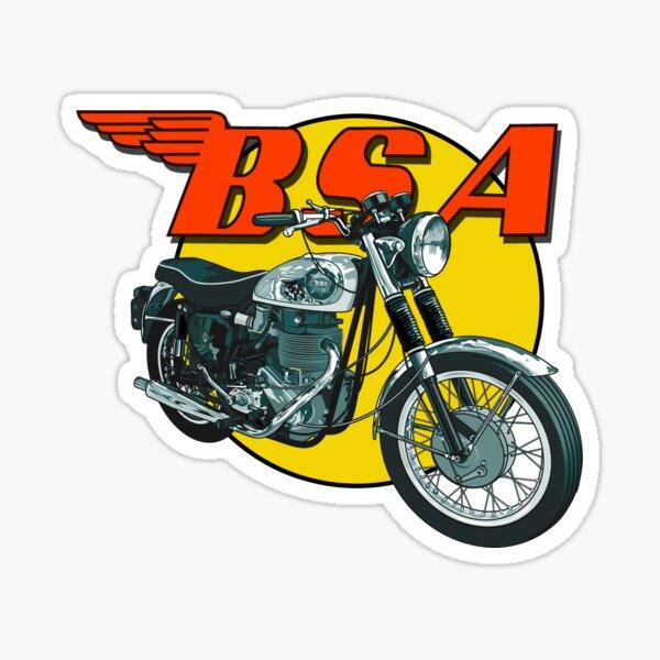Bsa Rojo Y Amarillo Y 6 Pulgadas Clásica Motocicleta pegatinas 07092