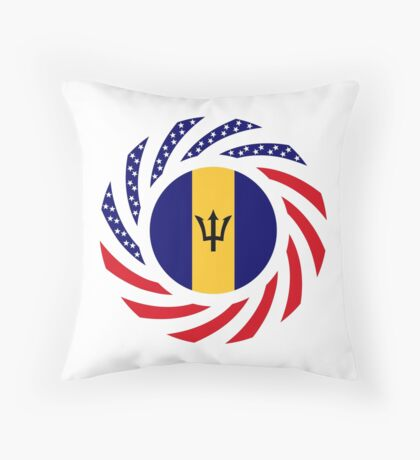 Barbadian American Multinational Patriot Flag Series Throw Pillow