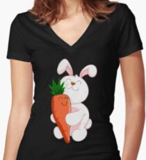 BUNNY LOVE! Women's Fitted V-Neck T-Shirt